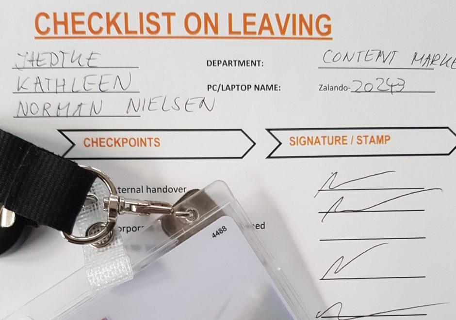Checklist when leaving the company